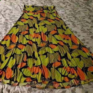 Lularoe Maxi Skirt Green/Orange Leaves 2XL NWT